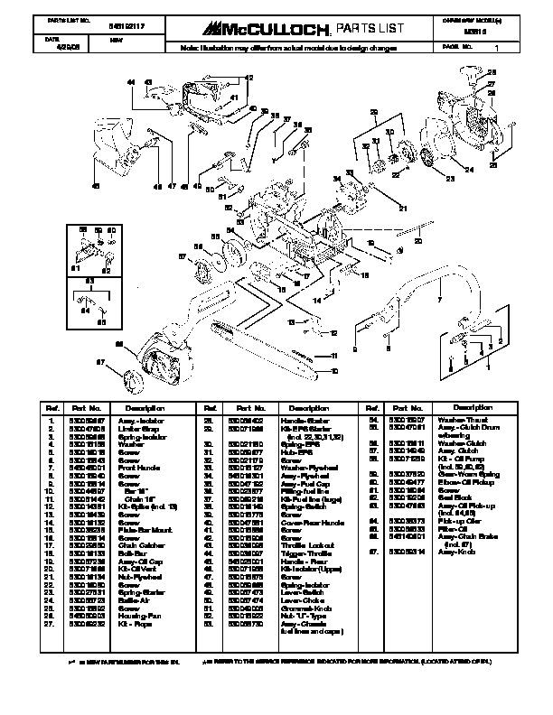 Mcculloch M3816 Chainsaw Service Parts List