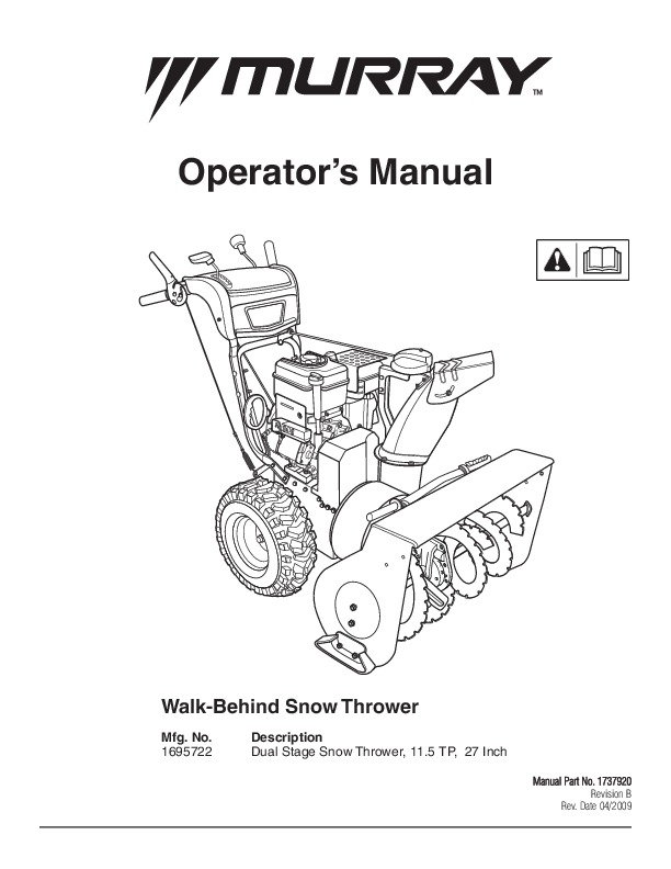 murray walk behind 1695722 11 5tp 27 inch dual stage snow blower rh filemanual com murray owners manual model 42591x8b murray owners manual download