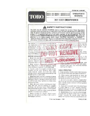 Toro 38052C 521 Snowblower Manual, 1988 page 1