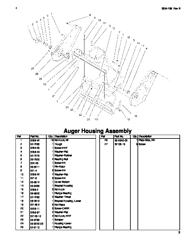 Toro CCR 3000 38437 20 Inch Single Stage Snow Blower Parts Manual, 1999