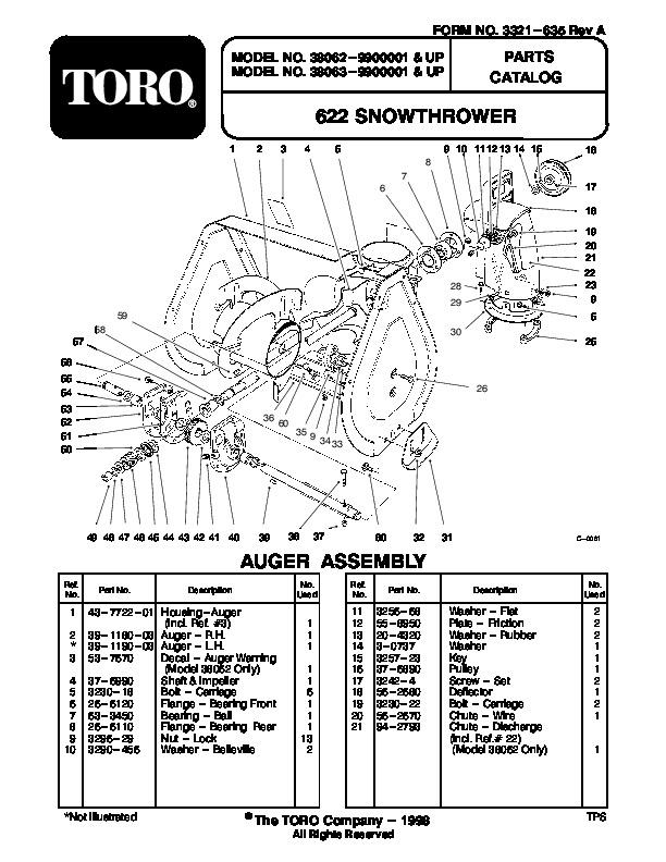 toro 622 38062 snow blower owners manual 1999 rh lawn garden filemanual com toro 621 snow blower manual Toro 421 Snowblower