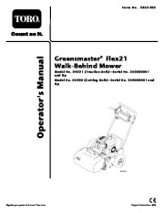 Toro 04021 04200 Greensmaster Flex 21 Lawn Mower Owners Manual, 2005 page 1