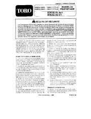 Toro 38052 521 Snowthrower Manuel des Propriétaires, 1987 page 1
