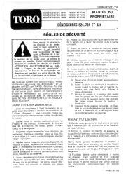 Toro 38040 524 Snowthrower Manuel des Propriétaires, 1979 page 1
