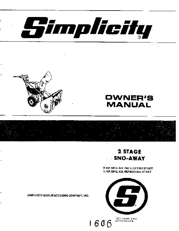 simplicity 742 652 5 hp two stage snow blower owners manual rh filemanual com Generac 5000 Watt Generator Manual simplicity 38 dehumidifier owner's manual