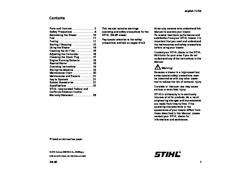 Stihl Bg 45 Blower Owners Manual