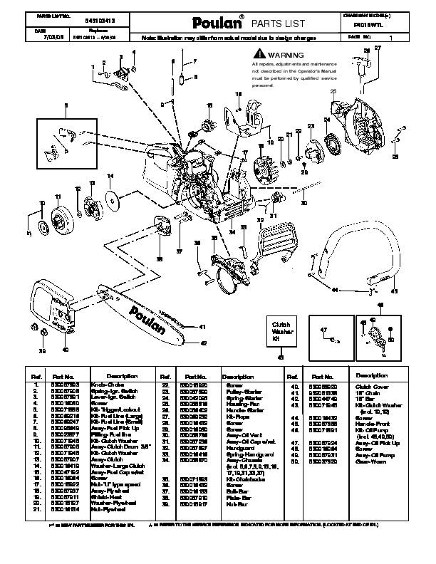 2008 poulan pro p4018wtl chainsaw parts list