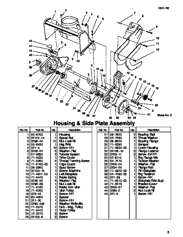 2000 Toro Ccr 100 1000e 38400 38405 20 Inch Single Stage Snow Blower Parts Manual