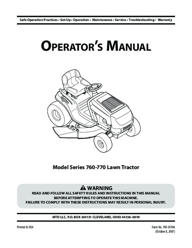 Huskee Mower Manuals : Mtd series lawn tractor mower owners manual