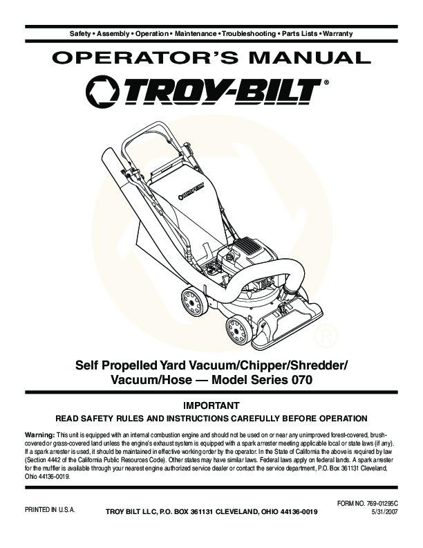 MTD TroyBilt 070 Series Vacuum    Chipper    Shredder Hose Lawn Mower    Owners       Manual