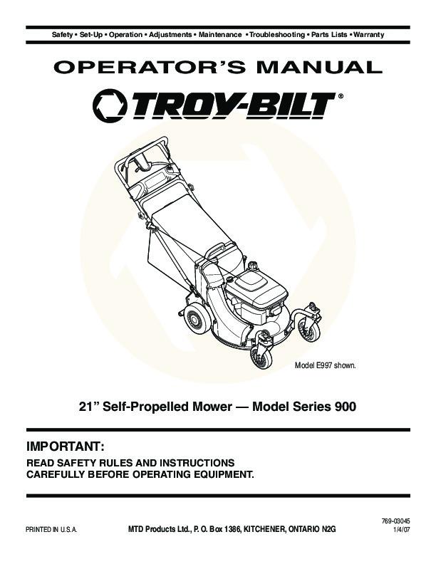 Mtd Garden Tractor 900 Series : Mtd troy bilt series inch self propelled lawn mower