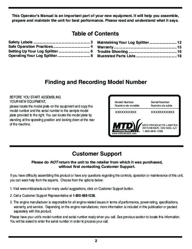 mtd 500 series log splitter lawn mower owners manual