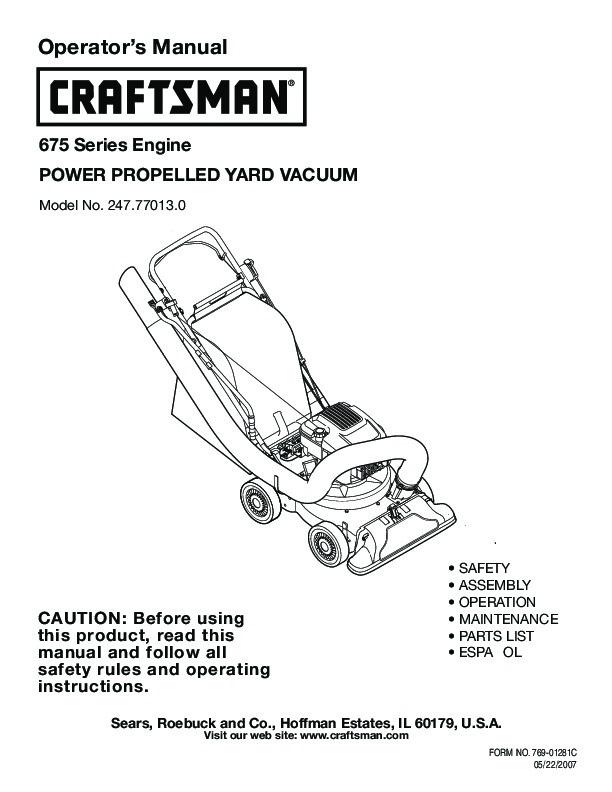 craftsman 675 247 77013 0 yard vacuum lawn mower owners manual rh lawn garden filemanual com Craftsman Blower Vac Model 358 797290 Manual Craftsman Sweeper Manual