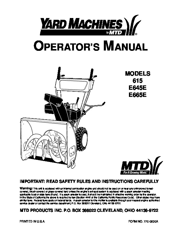 mtd yard machines 615 e645e e665e snow blower owners manual rh filemanual com mtd snowblower service manual mtd snow thrower repair manual