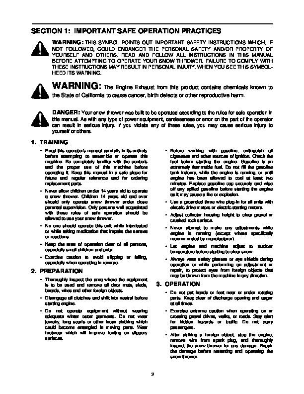 yard machine snow blower manual