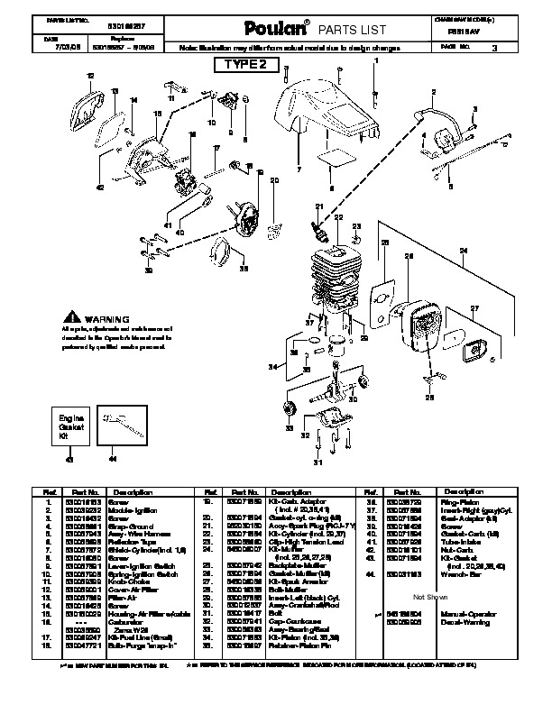 Poulan P3818av Chainsaw Parts List 2008