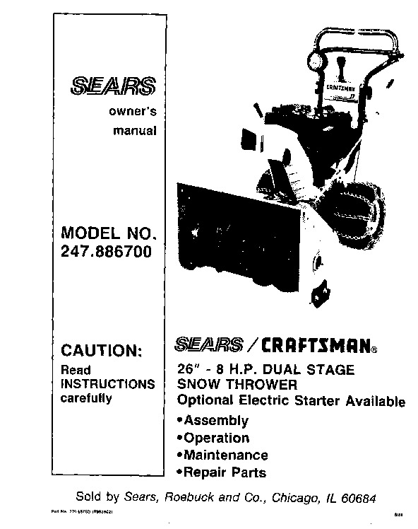 Craftsman 247886700 26 inch snow blower owners manual publicscrutiny Gallery