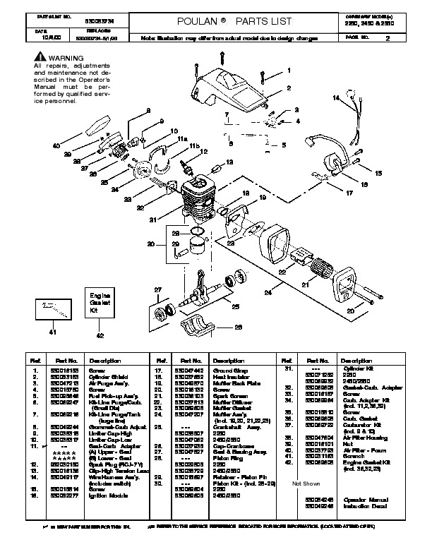 2000 poulan 2250 2450 2550 chainsaw parts list manual rh filemanual com poulan chainsaw manual pdf poulan chainsaw manual 3450