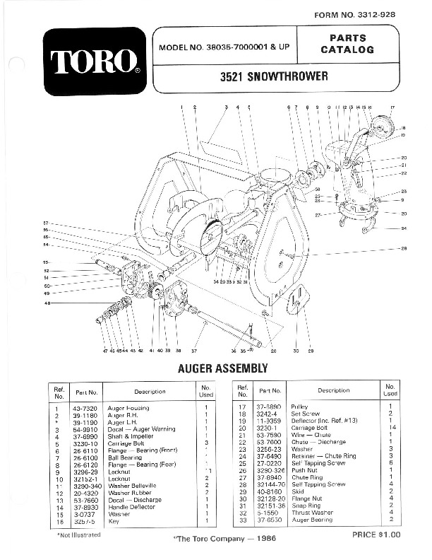 toro 38035 3521 snowblower manual  1987