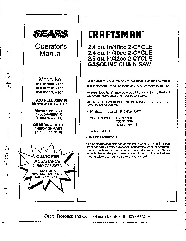 craftsman chainsaw repair manual 358.350203
