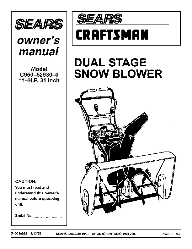 craftsman c950 52930 0 31 inch snow blower owners manual rh lawn garden filemanual com sears snow blower manual sears snow blower manual