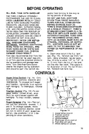 Toro 38054 521 Snowthrower Owners Manual, 1994 page 13