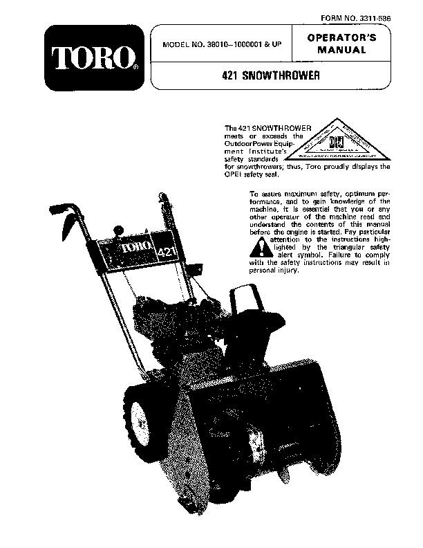toro 38010 421 snowblower manual 1981 rh lawn garden filemanual com toro snowblower 621e owners manual toro snowblower owners manual download