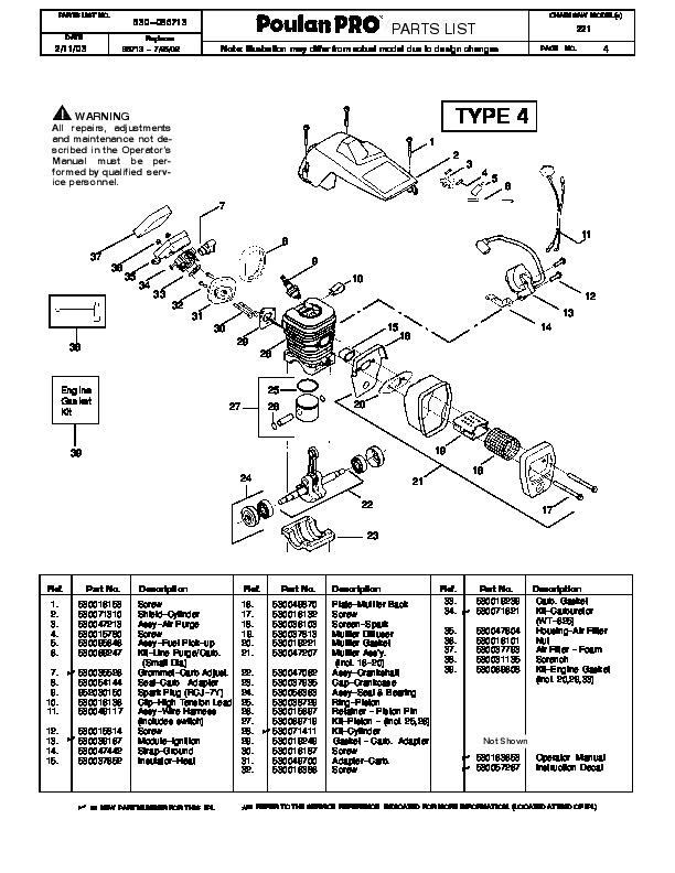 poulan pro 221 chainsaw parts list  2003