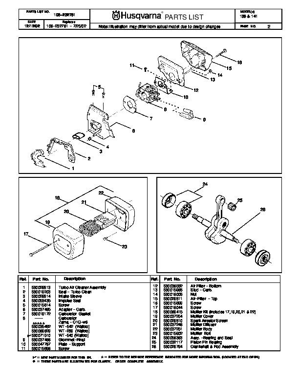 husqvarna 136 141 chainsaw parts manual  2002 2003 2004 husqvarna parts manual 322t awd Husqvarna Lawn Mower Parts Manual