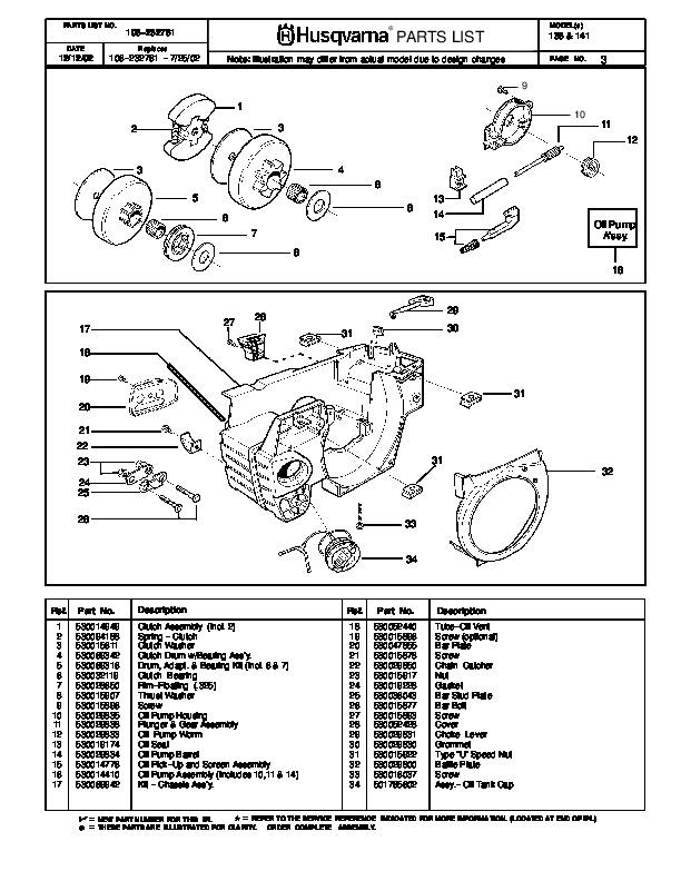 husqvarna 136 141 chainsaw parts manual  2002 2003 2004 husqvarna parts manual chainsaw husqvarna parts manual online