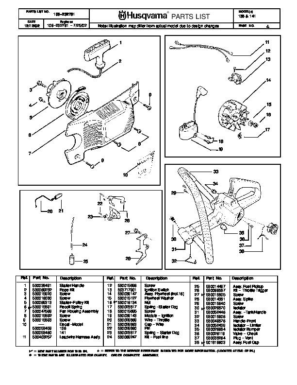 husqvarna 136 141 chainsaw parts manual  2002 2003 2004 Husqvarna Mower Parts Manual Husqvarna Mower Parts Manual