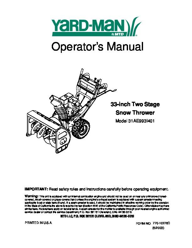 mtd yard man 31ae993i401 snow blower owners manual rh filemanual com yardman owners manual download yardman owners manual download