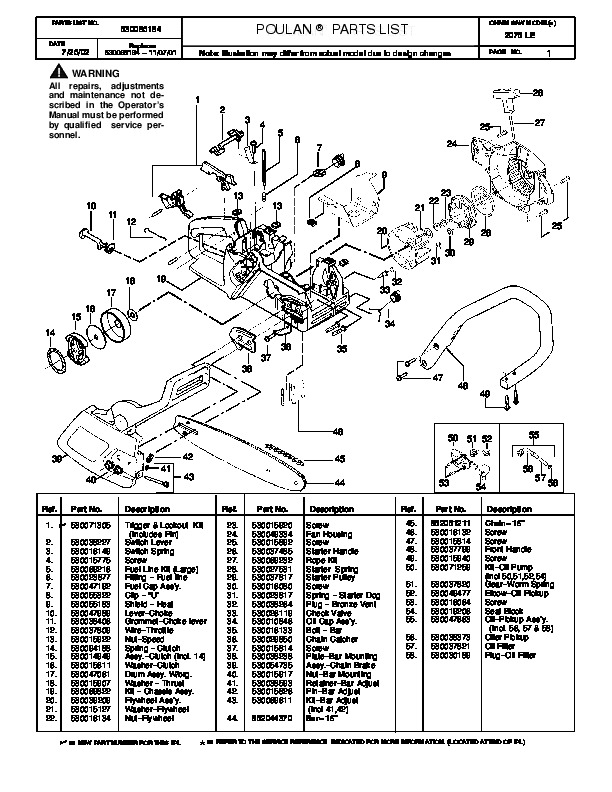 2002 poulan 2075 le chainsaw parts list