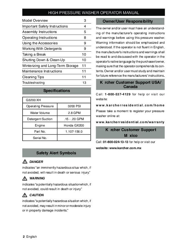 karcher 3200 psi pressure washer manual