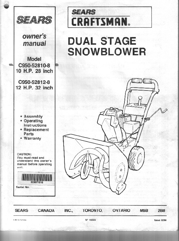 craftsman c950 52810 8 c950 52812 8 28 and 32 inch snow blower rh lawn garden filemanual com sears craftsman owners manual sears craftsman ys 4500 owner's manual