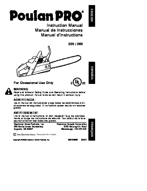 2003 poulan pro 220 260 chainsaw owners manual rh filemanual com poulan 220 pro chainsaw manual poulan 220 pro chainsaw manual