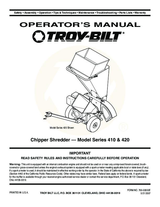 mtd troy bilt 410 420 chipper shredder lawn mower owners manual rh lawn garden filemanual com mtd 8hp chipper shredder manual mtd chipper shredder manual