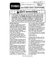 Toro 38025 1800 Power Curve Snowthrower Owners Manual, 1990 page 1