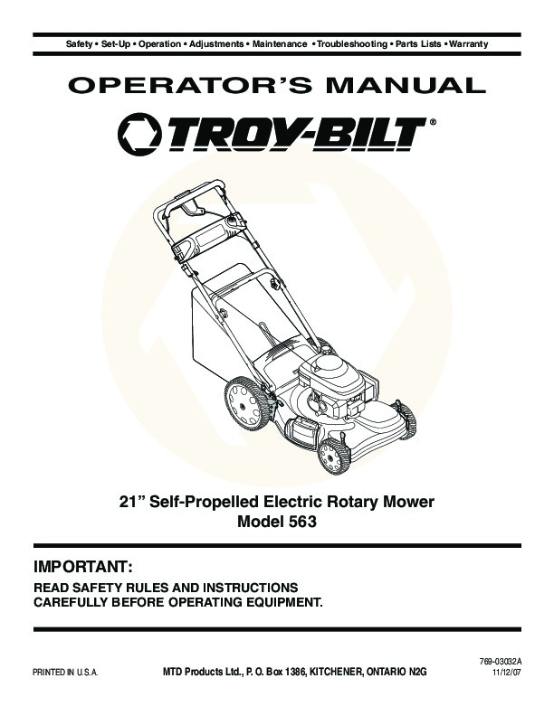 mtd troy bilt 563 21 inch self propelled electric rotary lawn mower rh lawn garden filemanual com troy bilt lawn mower user manual troy bilt xp lawn mower owner's manual