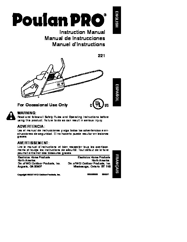 Poulan Pro 221 Chainsaw Owners Manual  2001
