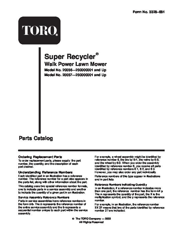 toro 20036 20037 21 inch super recycler lawn mower owners manual 2004 rh lawn garden filemanual com Toro Model 20018 Lawn Mower Parts Diagram Toro Model 20333 Rear Wheel Hub