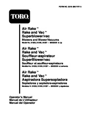 Toro 51539 Air Rake Blower Manual, 1998 page 1