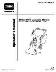 Toro 62925 206cc OHV Vacuum Blower Owners Manual, 2006 page 1