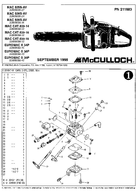 Mcculloch Mac 835s 836s 838s 839 14 16 18 Euromac S 34p 38p 39p Chainsaw Parts List  1998