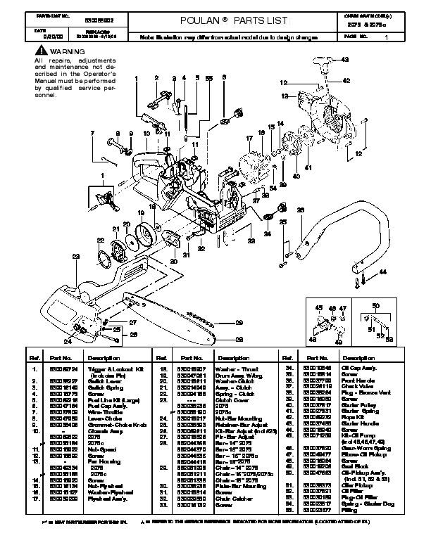 poulan 2075 2075c chainsaw parts list  2000