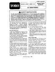 Toro 38054 521 Snowblower Manual, 1990 page 1