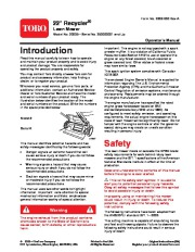 Toro 20005 22-Inch Recycler Lawn Mower Owners Manual, 2006 page 1