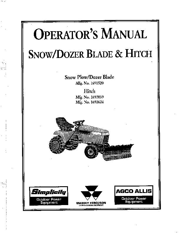simplicity snow dozer blade hitch 1692039 1692624 snow blower owners rh filemanual com simplicity snowblower service manual Simplicity 8526L