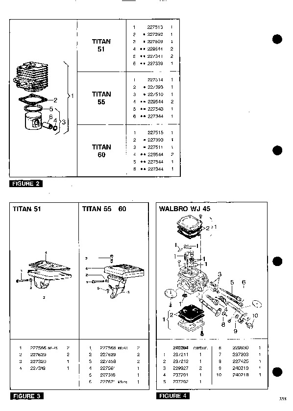 Mcculloch Titan 51 55 60 Chainsaw Service Parts List  1993