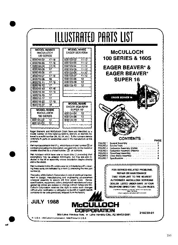 mcculloch eager beaver 100 160 106s 600016 600123 600124 chainsaw rh filemanual com mcculloch eager beaver 2016 manual McCulloch Chainsaw Repair Guide